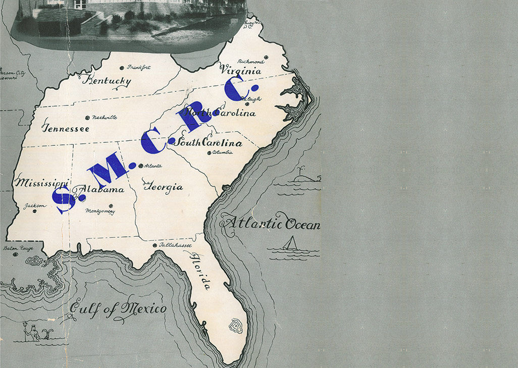 Timeline Showing 1940s Map of the Southeast U.S. Where SMC³ Continued to Optimize LTL Freight-Transportation